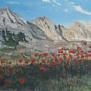 Mountains And Poppies Poster