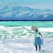 Mountains Ocean With Little Girl  Poster