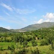 Mountains Sky And Homes In Village Of Swat Valley Khyber Pakhtoonkhwa Pakistan Poster