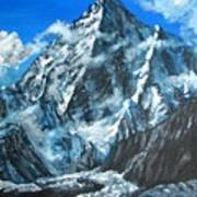 Mountains View Landscape Acrylic Painting Poster