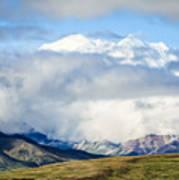 Mt Denali In The Clouds Poster