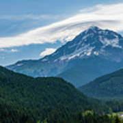Mt Hood With Lenticular Cloud 2 Poster