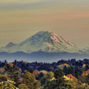 Mt Rainer Fall Color Rising Poster