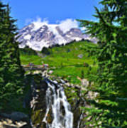 Mt. Rainier From Myrtle Falls Poster