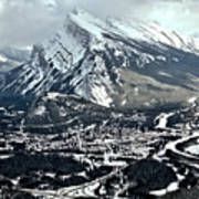 Mt Rundle Aerial View Poster
