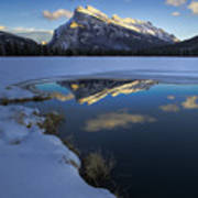 Mt. Rundle Winter Reflection Poster