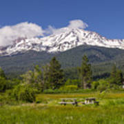 Mt Shasta With Picnic Tables Poster