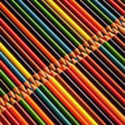 Multicolored Pencils In Rows Poster