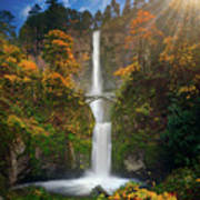 Multnomah Falls In Autumn Colors -panorama Poster