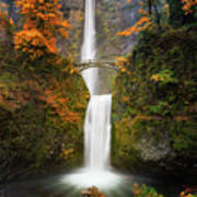 Multnomah Falls In Autumn Colors Poster