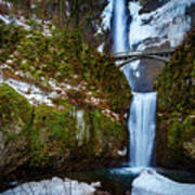 Multnomah Falls With Snow Poster