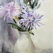 Mums In White Pitcher Poster by Dorothy Herron