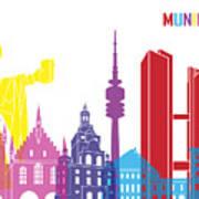 Munich Skyline Pop Poster