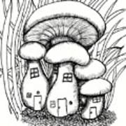 Mushroom Fairy Houses And Grass Poster