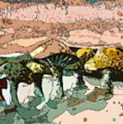Mushroom Rows Poster