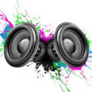 Music Speakers Colorful Design Poster