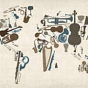 Musical Instruments Map Of The World Map Poster by Michael Tompsett