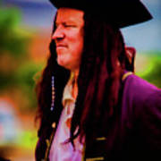 Musician In Pirate Hat And Dreadlocks - In Watercolor Photo Poster