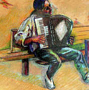 Musician With Accordion Poster