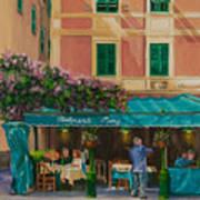 Musicians' Stroll In Portofino Poster by Charlotte Blanchard