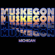 Muskegon Channel Sunset Poster