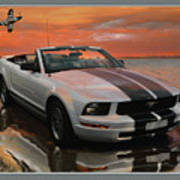 Mustang And Mustang At The Beach Poster