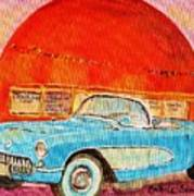 My Blue Corvette At The Orange Julep Poster