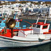 Mykonos Greece Fishing Boats Poster