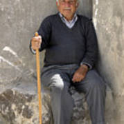 Mykonos Man With Walking Stick Poster