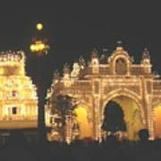 Mysore Palace Main Gate Temple Gloriously Lit At Night Poster