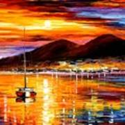 Naples - Sunset Above Vesuvius Poster