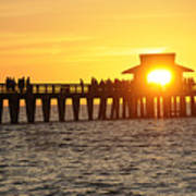 Naples Florida Sunset Pier Poster