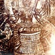 Illuminated Narasimha Dev In Sepia Poster