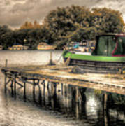 Narrow Boat And Jetty Poster