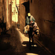 Narrow Streets Fes Male Donkey  Poster