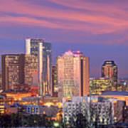 Nashville Skyline At Dusk 2018 Panorama Color Poster