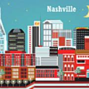 Nashville Tennessee Horizontal Skyline Poster