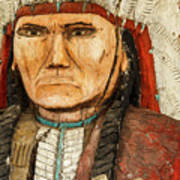 Native American Chief With Pipe Poster