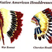 Native American Headdresses Poster