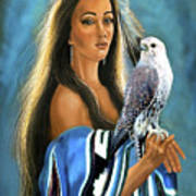 Native American Maiden With Falcon Poster