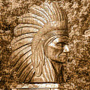 Native American Statue Copper  Poster