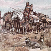 Native Americans Plains People Moving Camp Poster
