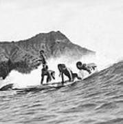 Native Hawaiians Surfing Poster