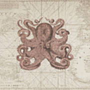 Nautical Octopus Sea Chart Poster