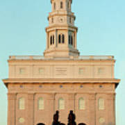 Nauvoo Lds Temple Sunset With Hyrum And Joseph Smith Bronze Statue Poster