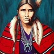 Navajo Woman In Red Poster