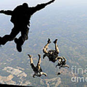 Navy Seals Jump From The Ramp Of A C-17 Poster
