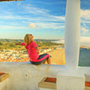 Nazare Viewpoint Woman Poster