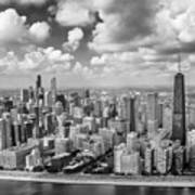 Near North Side And Gold Coast Black And White Poster
