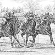 Neck And Neck - Horse Racing Art Print Poster